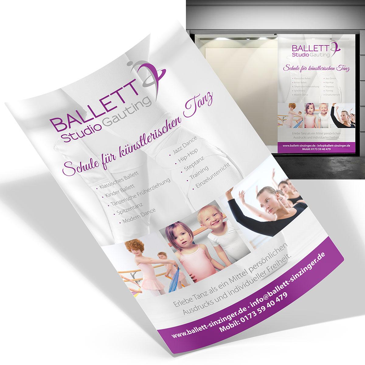 Schaufenster Aussenwerbung - Ballettschule